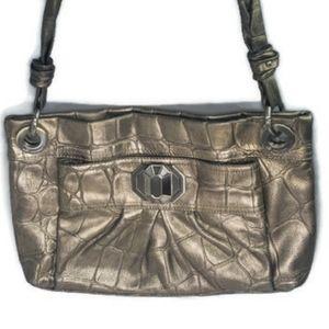 B. MAKOWSKY Leather Metallic Gold Handbag